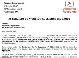 Gastos hipoteca abogado online consulta juridica gratis for Reclamacion devolucion clausula suelo